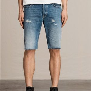 AllSaints Distressed Denim Ipava Switch Shorts 36